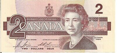 Canada 1986 UNC.Two Dollar Banknote. Bonin,Thiessen, Signatures
