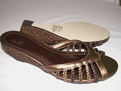 b40d3117a82 Women s Size 8.5 Sandals Slides White Mountain LEATHER Wedge Orlean Bronze  NEW