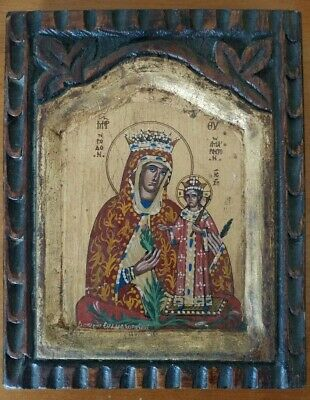 Icon Wood Greek Orthodox Hand Painted Greece of Mary and Christ Miracle of Roses