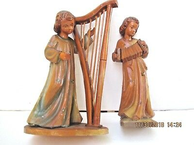 antique hand carved wood figural musicians music players folk art sculpture 8520