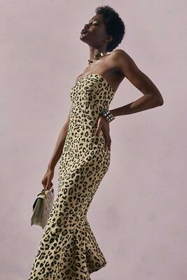 9317aef8ab67 Cinq a Sept strapless leopard luna bodycon midi dress NWT 0 $525.00