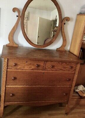 VTG ANTIQUE TIGER Dark OAK 4 Drawer W/Mirror DRESSER Redmond OR FURNITURE CO.