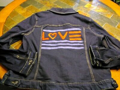 fe8f60d172 EV1 By Ellen Degeneres Denim Love Flag Denim Jacket NWT Women's Size XXXL