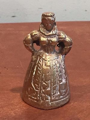 Antique Vintage Brass Victorian Lady Servant Bell with Feet for Clapper
