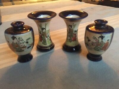 Antique Japanese Satsuma Vases Hand Painted Miniatures Signed Base