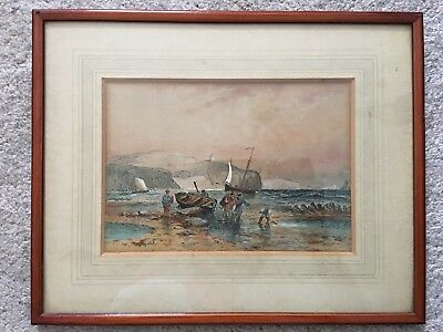 Antique Coastal Scene With Fisherman 19th Century Pen And Heightened Watercolour