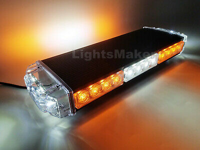 16 in Amber White LED Warning Emergency Beacon Strobe Rooftop Mini Lightbar 30W