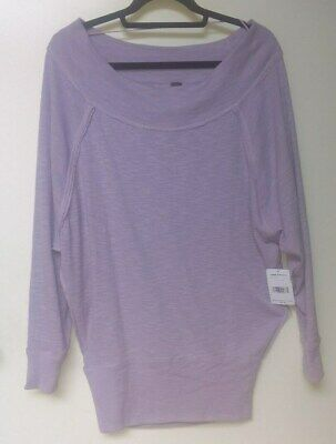 7544d2911de208 NWT Free People Palisades Sweater Top Lilac Dust Off The Shoulder SZ Small