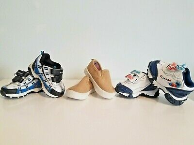 Lot Of 3 Pairs Of Baby Boys Size 2 Shoes! Euc! Light Up & Slip On!