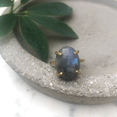 Size 8.5 Natural Labradorite Oval Gemstone Brass Claw Cocktail Fashion Ring Gold