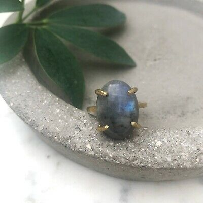 Size 7.5 Natural Labradorite Oval Gemstone Brass Claw Cocktail Fashion Ring Gold