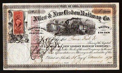Jim - James Fisk Jr. 1870  RARE Robber Baron signed signature Stock Certificate