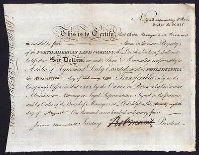 1795 Robert Morris Financier of the American Revolution signs Stock Certificate