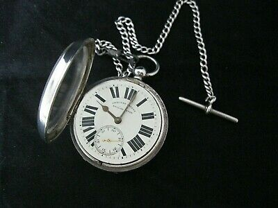 Antique solid silver open face English lever pocket watch Chester 1900