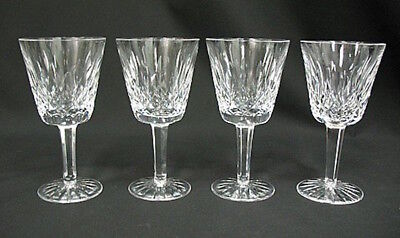 """SPARKLING 4 NEW Waterford Crystal Lismore 5 7/8"""" Claret Glasses Wine Water NIB"""