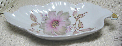 Vintage Old Nuremberg China Candy Dish, Bavaria Germany, Floral, Leaf Shape