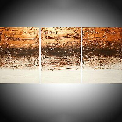 Large 3 Panel Abstract Triptych Canvas Wall Art Abstract Gold Copper Brown