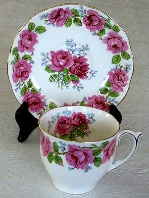 Lady Alexander Rose Queen Ann TEA CUP & SAUCER Scalloped Gold Trimmed Bone China