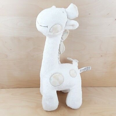 """Marks And Spencer M&S Large Giraffe White 15"""" Rattle Soft Toy Comforter 9745698"""