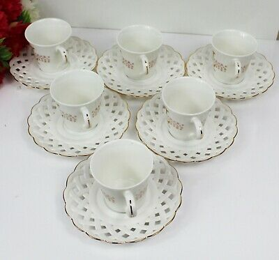 Set Of 12 Piece White & Gold Tea,Coffee Cup & Saucers Set For Easter Gift Box