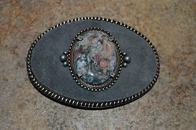 """Handcrafted POLISHED STONE Belt Buckle OVAL 4"""" by 3"""" (#2) Made in USA NEW"""
