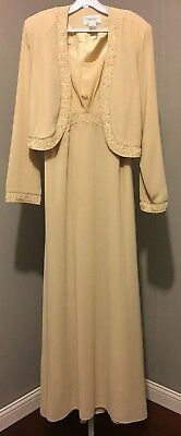 Tally Taylor Formal Dress With Jacket Size 12 Champagne Nwt