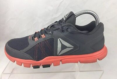 Reebok Womens Yourflex Trainette 9.0 MT Athletic Shoes Size 7.5 Gray/Coral
