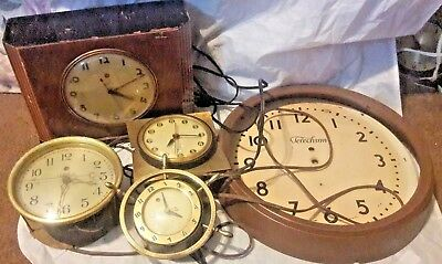 Vintage Antique TELECHRON Clocks And Parts. Working and parts, and 1 school face