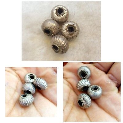 Wonderful Old Silver Egyptian Design 4 Piece Antique Silver Beads    # g6