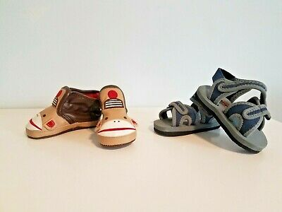 Lot Of 2 Pairs Baby Boys Size 3-6 Month Old Navy Monkey Slip On Shoes & Sandals!
