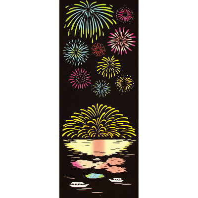 japanese tenugui fabric  Title:Fireworks in the water