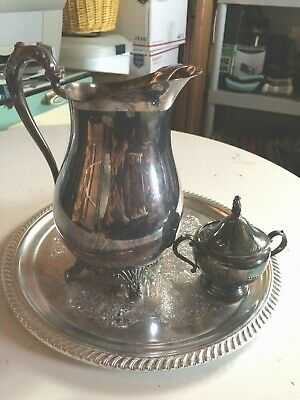 FB Rogers  silver co stamped crown 1883 water pitcher, creamer&Tray, Vintage