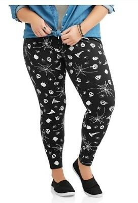 18c169ce2a335 Faded Glory HALLOWEEN Leggings Plus Size 1X 16 Womens Skeleton Footless NWT