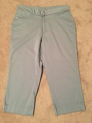 Riders by Lee~Womens~Cropped/Capri Pants~Stretch~Lt. Blue~Flat Front~Sz 16M~EUC