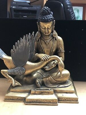 South East Asian Antique Bronze Budda With Goose