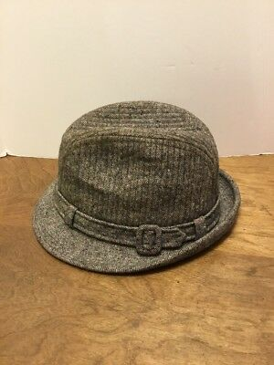Vintage Knox New York Wool Gray Fedora Style Hat 7-1/4 Band With Buckle