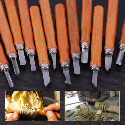 New 12x Wood Carving Hand Chisel Tool Set Woodworking Professional Craft Gouges