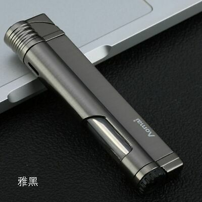 AOMAI 5103 Mini Windproof Refillable Butane Viewable Flame Torch Lighter Gray