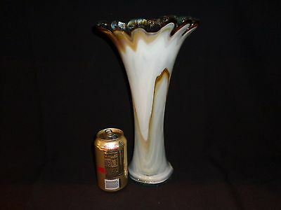 Large Tall Hand Blown White with Brown Accents Art Glass Vase