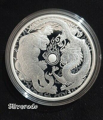 2019 DRAGON AND TIGER 1oz SILVER PROOF COIN  REGISTERED POST PERTH MINT