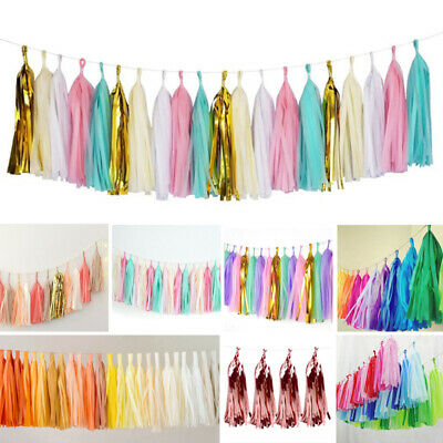 Tissue Paper Tassels Garlands DIY Bunting Happy Birthday Wedding Party Decor