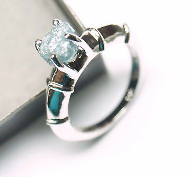 2.20ct Natural Blue Raw Diamond Uncut Diamond Rough Diamond sterling Silver ring