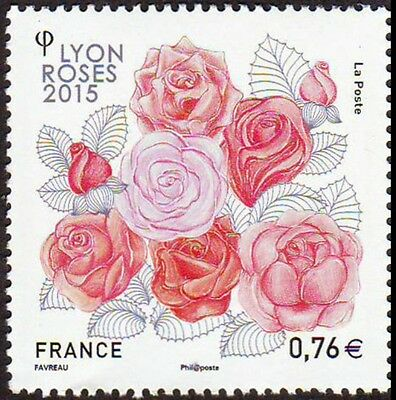"""timbre France neuf 2015 """"LYON ROSES"""" y&t 4957"""