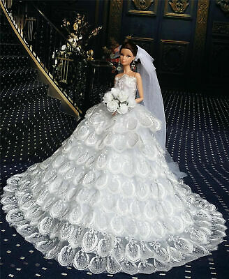 White Fashion Royalty Dress/Wedding Clothes/Gown+Veil for 11.5in. Doll