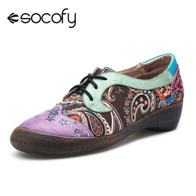 SOCOFY Women Summer Loafers Moccasins Genuine Leather Lace Up Splicing Shoes AU