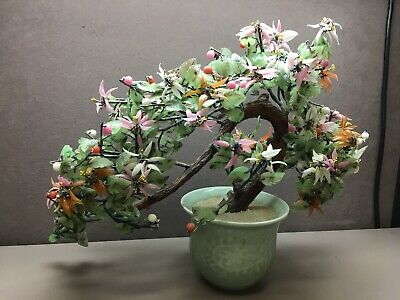 "Vintage Asian Jade Agate Glass Leaves Flowers Bonsai Tree Celadon Vase 18""x14"""