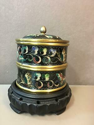Vintage Chinese Cloisonne Bento Box 2 Compartments on Carved Wood Stand