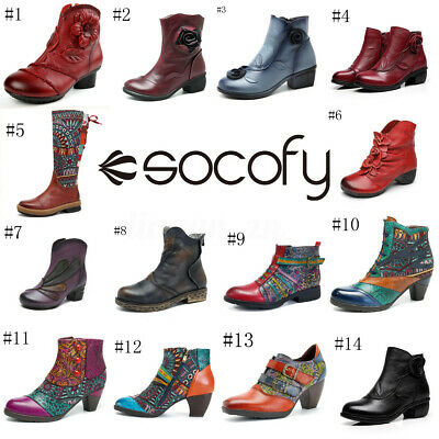 SOCOFY Women Bohemian Leather Knee High Block Ankle Boots Pointed Toe Soft