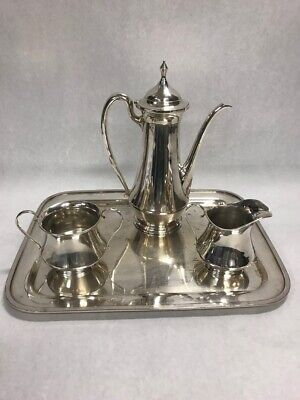 Vintage Sterling Silver JS Co. coffee service 3 pc plus Sheffield silver tray