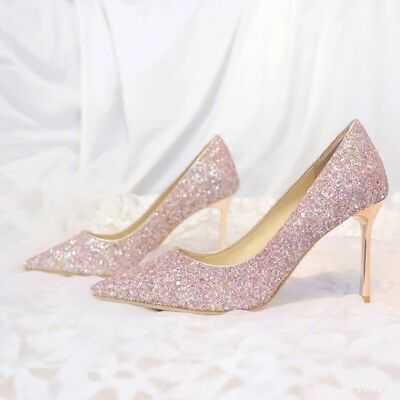 Sexy Women Pointy Toe High Stiletto Heel Slip On Sequins Bling Pumps Shoes Chic